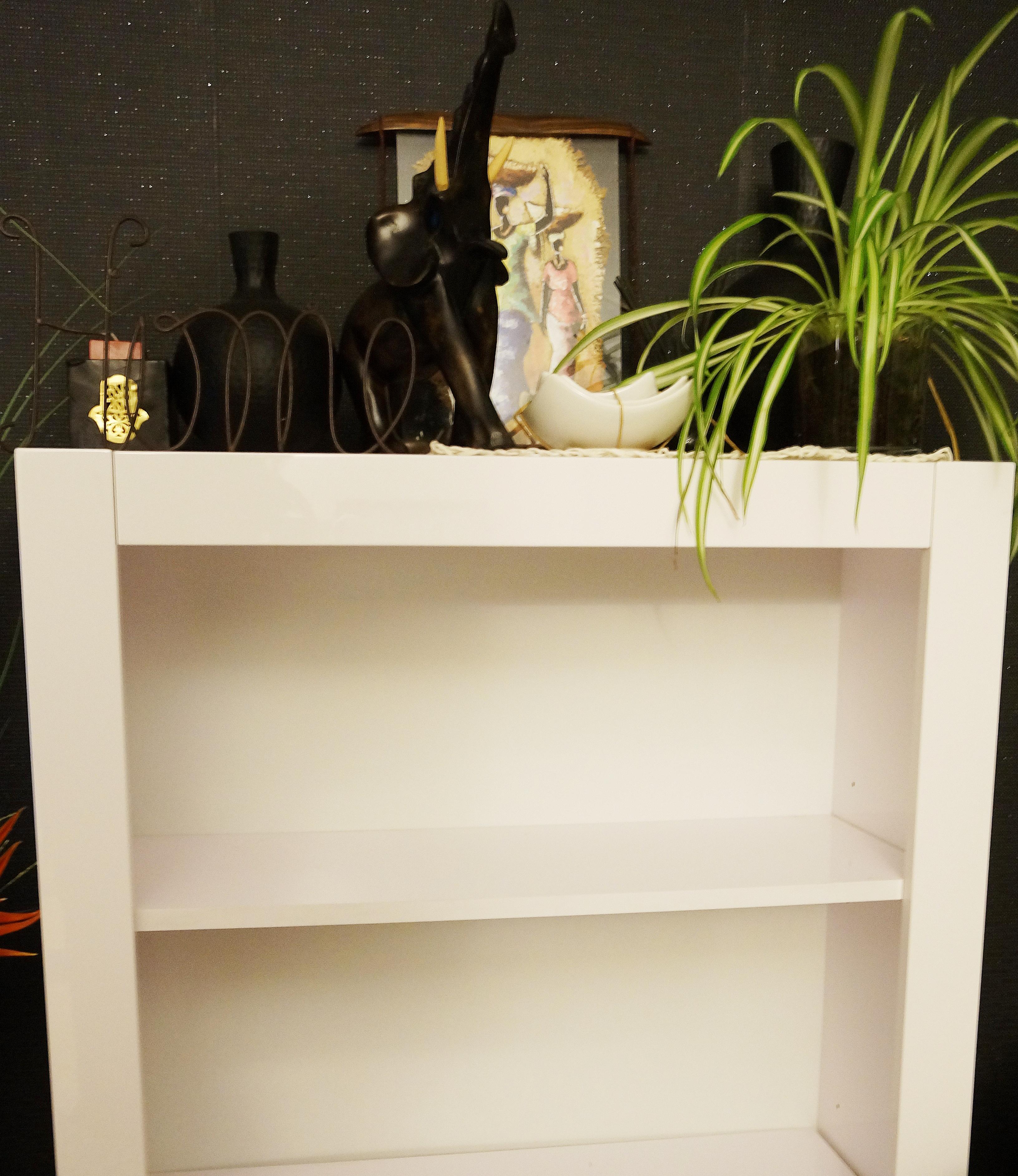 Biblioth que customis e avec du papier peint rasch for Comment donner des meubles a emmaus